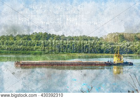 A Tugboat Pushes A Barge With The Grain On The Danube River. Green Forest In The Background. A Summe