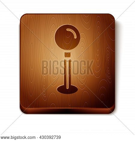 Brown Push Pin Icon Isolated On White Background. Thumbtacks Sign. Wooden Square Button. Vector