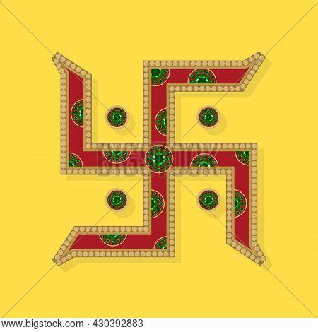 Red And Golden Colored Swastik Symbol | Indian Hindu Spiritual Symbol