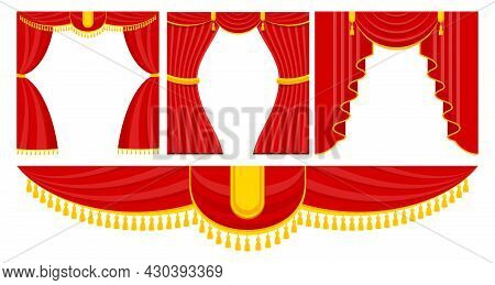 Curtains With Lambrequins On The Stage Of The Theater, Concert Hall.