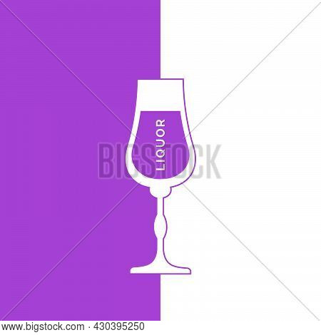Liquor Glass In Minimalist Linear Style With Text. Contour Of The Glassware On Right Side In Form Of
