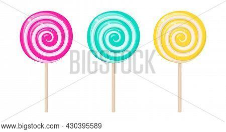 Lollipops, Spiral Hard Sugar Candies On Stick. Mint, Strawberry, Lemon And Fruit Taste Lollypops. Ve