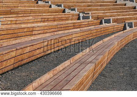 Empty Contemporary Wooden Benches In Open Air Outdoor City Public Event Space.modern Urban Public Va