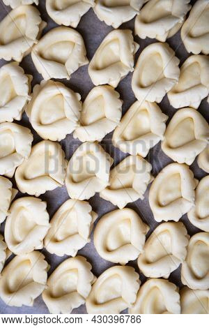 Raw italian tortellini pasta, home made and ready gor cooking