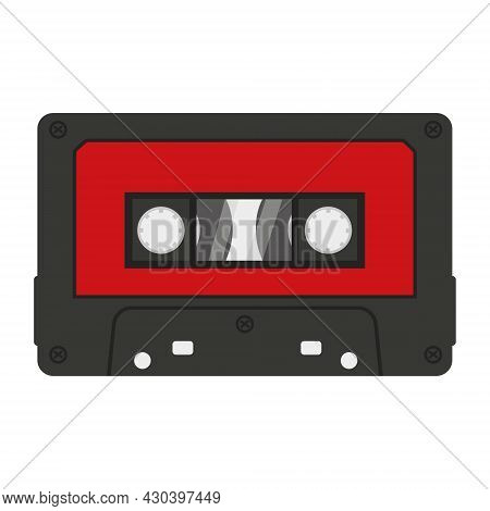 Audio Cassette For A Tape Recorder, Isolated Vector Illustration On A White Background.