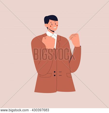 Lucky Businessman Say Yes With Relieved Face, Smiling And Making Fist Pump, Triumphing Of Success. C