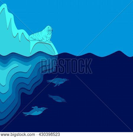Illustration With Iceberg, Walrus And Penguins. Vector Colored Background.