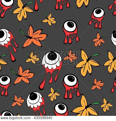 Seamless Pattern With Bloody Zombies Or Alien Eyeballs And Autumn Leaves. Halloween Illustration.