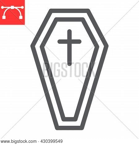 Coffin Line Icon, Holiday And Halloween, Tomb Vector Icon, Vector Graphics, Editable Stroke Outline