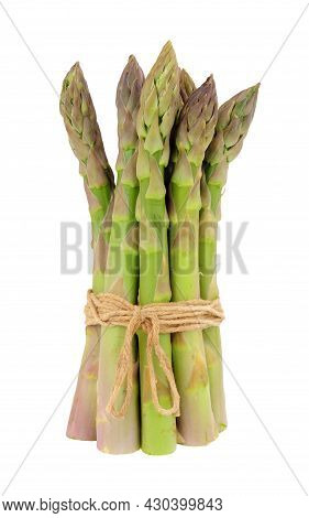 Bunch Of Fresh Raw Asparagus Tips Isolated On A White Background