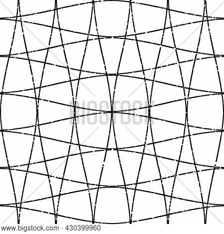 Narrow Ogee Grid Abstract Vector Seamless Pattern Background. Elegant Geometric Backdrop Monochrome