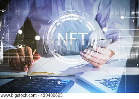 Woman Hands With Laptop And Smartphone, Non-fungible Token Hologram, Nft With Network Circuit And Gl