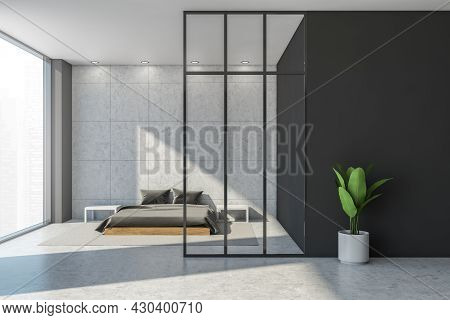 Minimalist Bedroom Area Design Using Two Shades Of Grey For Walls, Four Simple Lights, Concrete Floo