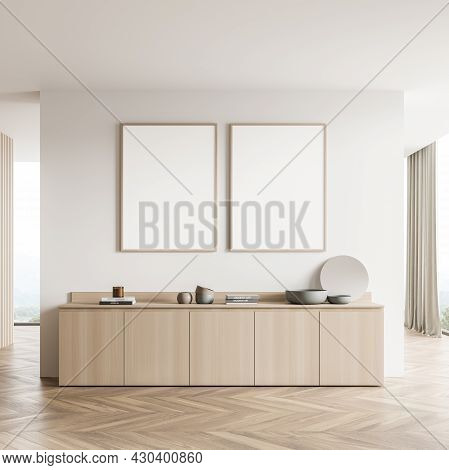 Two Banners In The Light Beige Interior Of The Living Room With Partition Wall, Sideboard And Panora