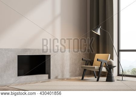 Panoramic Minimalist Beige Living Room Interior With Armchair, Fireplace, Modern Trendy Coffee Table