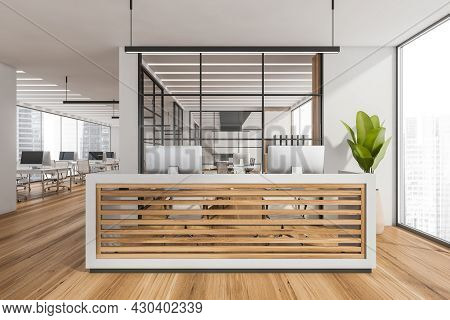 Panoramic Interior With Double Reception Desk, Having Wood Panels, In The White Open Space With Glas