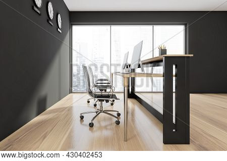 Side View Of The Combined Glass Reception Desk, Standing In The Empty Workspace With Black Walls, Wo