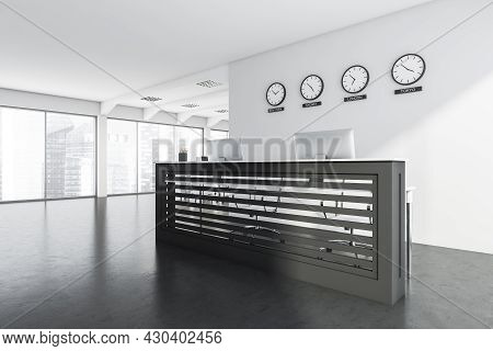 Panoramic Office Interior With Double Front Desk Near White Partition With Clocks, Concrete Flooring