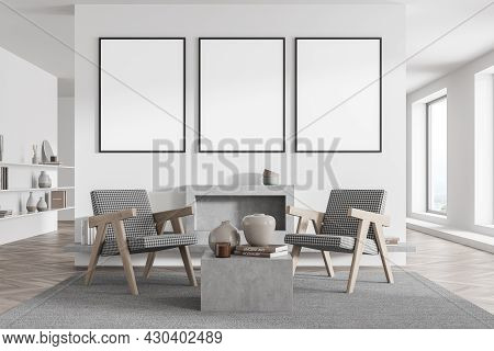 Waiting Room Interior With Three Posters, Windows, Two Armchairs, Fireplace, Rug, Bookshelves And Wh