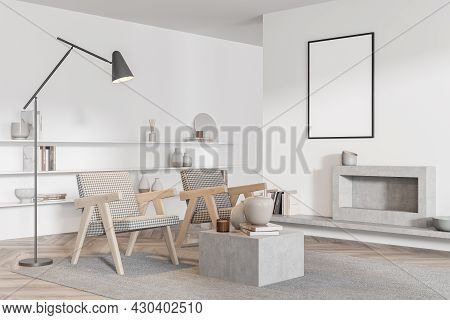 Mock Up Poster In The White And Grey Living Room Interior With Two Armchairs, Fireplace, Coffee Tabl