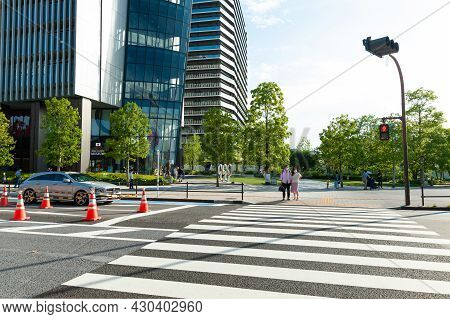 Shinjuku City, Tokyo, Japan - June 12, 2021: Japan Sport Olympic Square. The First Two Floors House