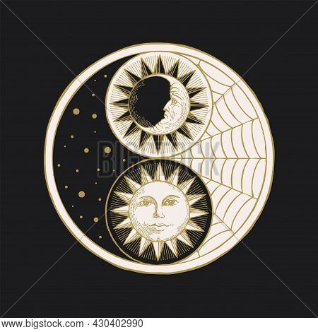 Vector Yin Yang Symbol With Sun, Moon, Stars And Cobweb On A Black. Hand-drawn Stylized Moon And Sun