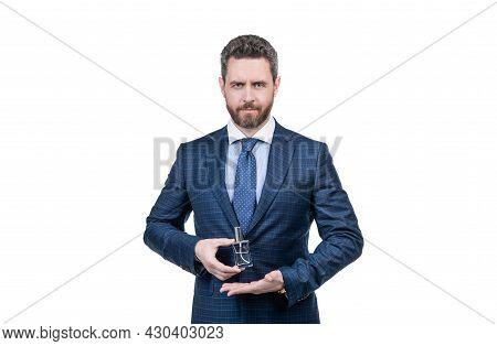 Mu Choice. Successful Guy Suggest Fashion Cologne Bottle. Handsome Man Choose Perfume.