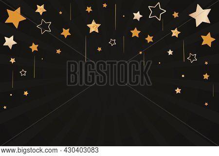 New year's celebration golden stars black background
