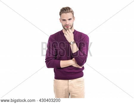 Handsome Man With Unshaven Face Skin Wear Violet Pullover With Casual Pants, On-trend
