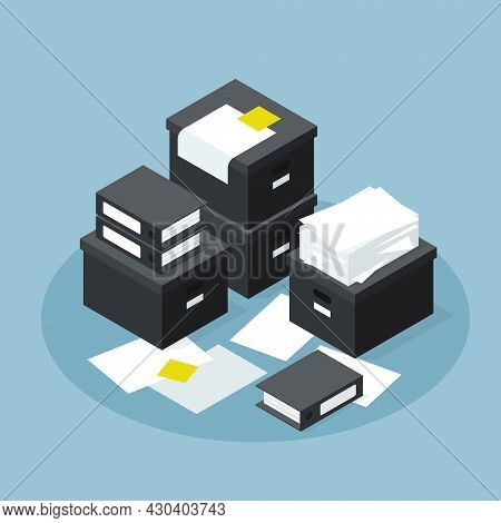 Isometric Office Paper Database Storage Vector Illustration. Stack Of Cardboard Boxes, Case, Contain