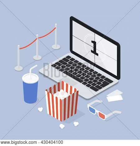 Isometric Home Online Cinema Vector Illustration. Domestic Movie Theater With Laptop Pc, Drink And P