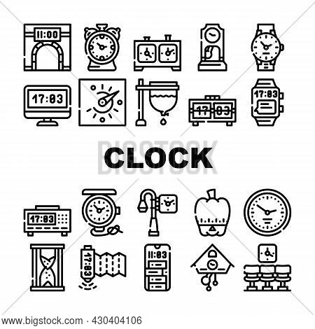 Clock And Watch Time Equipment Icons Set Vector. Floor Antique Clock And Digital Hand Gadget, Chess