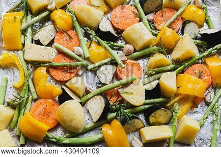 Chopped Stewed Vegetables On Tray With Herbs And Olive Oil Food