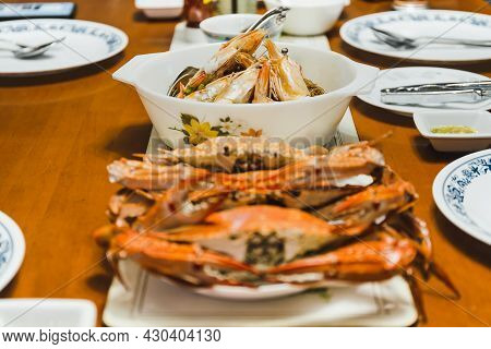 Set Of Seafood With Shrimps Prawns Crab Ocean Gourmet Dinner Seafood Cooked With Herbs