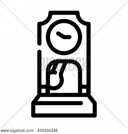 Floor Antique Clock Line Icon Vector. Floor Antique Clock Sign. Isolated Contour Symbol Black Illust