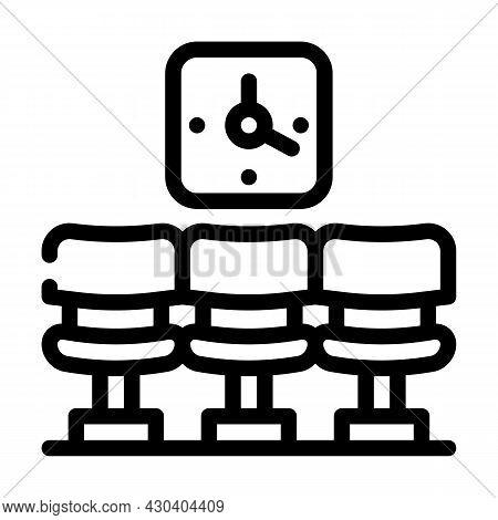 Waiting Room Clock Line Icon Vector. Waiting Room Clock Sign. Isolated Contour Symbol Black Illustra