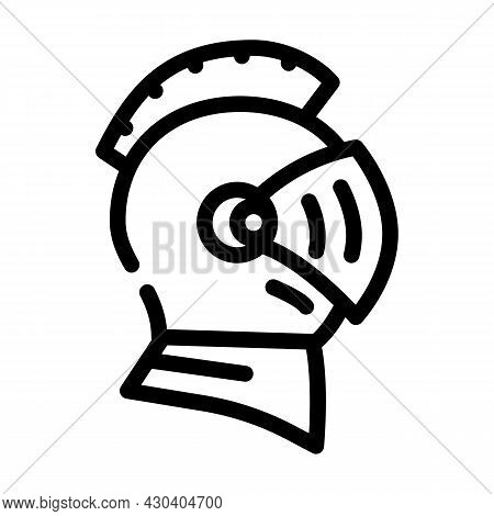 Knight Helmet Suit Armour Fairy Tale Line Icon Vector. Knight Helmet Suit Armour Fairy Tale Sign. Is