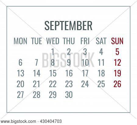 September Year 2021 Vector Monthly Plain Minimalist White Calendar. Week Starting From Monday.