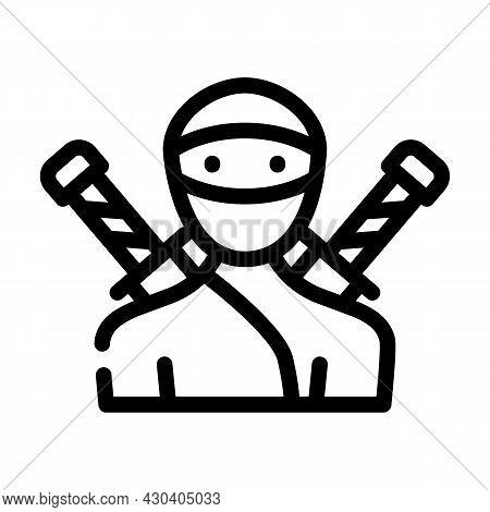 Ninja Fantasy Character Line Icon Vector. Ninja Fantasy Character Sign. Isolated Contour Symbol Blac
