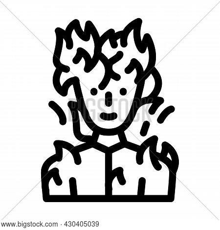 Burning Man Fantasy Character Line Icon Vector. Burning Man Fantasy Character Sign. Isolated Contour