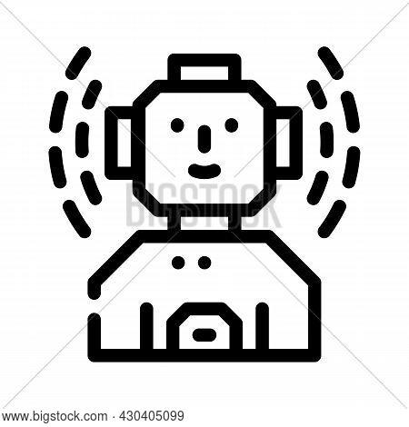 Robot Fantasy Character Line Icon Vector. Robot Fantasy Character Sign. Isolated Contour Symbol Blac