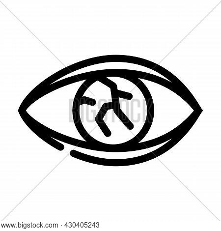 Lens Injury Ophthalmology Line Icon Vector. Lens Injury Ophthalmology Sign. Isolated Contour Symbol