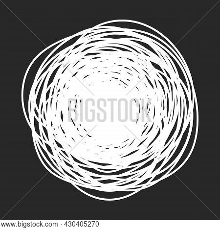 Grungy Round Scribble Circle On Black Background