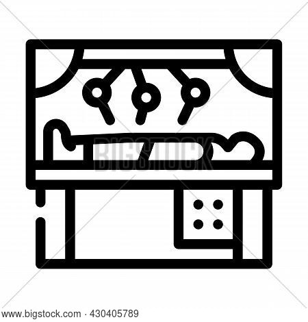 Robot Doing Surgery Operation Line Icon Vector. Robot Doing Surgery Operation Sign. Isolated Contour