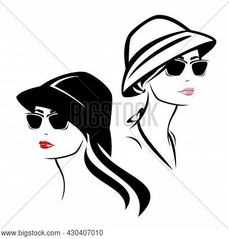 Young Woman Wearing Sunglasses And Bucket Hat - Summer Resort Accessories Fashion Vector Portrait