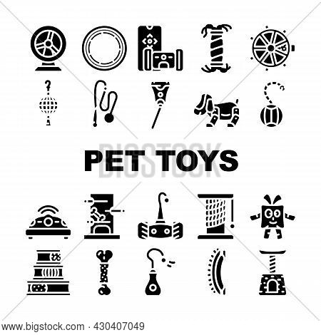 Pet Toys For Enjoyment Animal Icons Set Vector. Hamster Wheel And Inflatable Couch For Dog, Interact