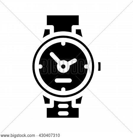 Wrist Clock Glyph Icon Vector. Wrist Clock Sign. Isolated Contour Symbol Black Illustration