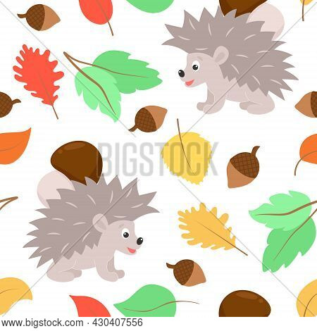 Autumn Pattern Hedgehog Carries A Mushroom And Leaves Falling. Seamless Fall Background. Seasonal Co