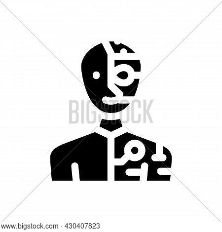 Cyborg Fantasy Character Glyph Icon Vector. Cyborg Fantasy Character Sign. Isolated Contour Symbol B