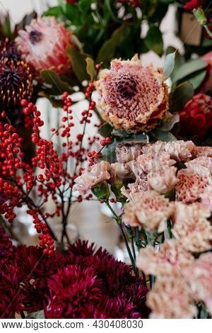 Bunches of flowers in a flower shop
